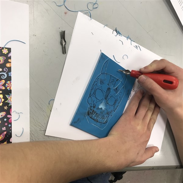 Printmaking - Cutting And Printing A Lino.
