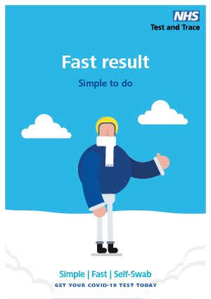Graphic of NHS lateral flow testing - Fast result simple to do - Get your COVID-19 test today