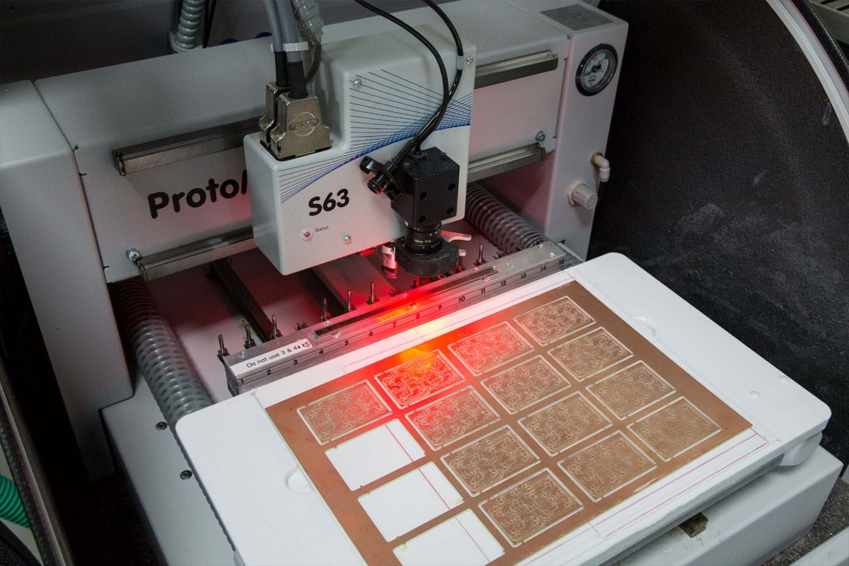 Photograph showing a laser cutting machine
